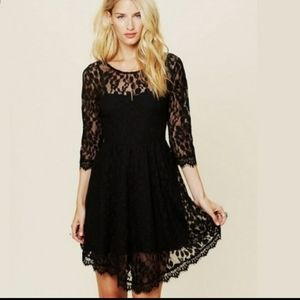 Free People Black Lace dress Fit Flare M